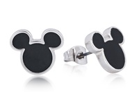 Disney Couture: Mickey Mouse Stud Earrings Black - White Gold