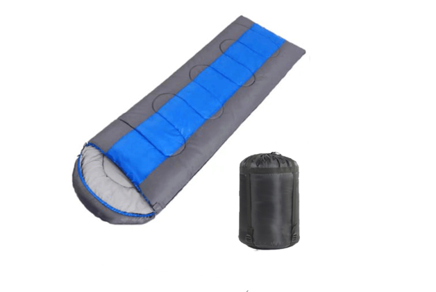 High Quality Envelope Hooded Sleeping Bag with Carry Bag - Blue/Dark Grey