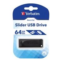 Verbatim Store'n'Go Slider USB 2.0 Drive - 64GB (Black) image