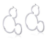 Disney Couture: Mickey Outline Hoop Earrings - White Gold