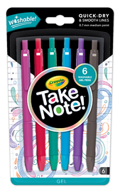 Crayola: Take Note! - Washable Gel Pens (6pc)