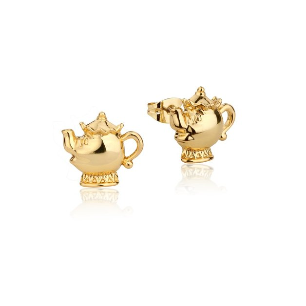 Couture Kingdom: Disney - Beauty and the Beast Mrs Potts Gold Earring (Yellow Gold)