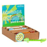 Seedling: Sausage Animals - Pencil & Eraser (Assorted Designs)