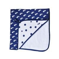 Little Baby Turtle: Hooded Towel - Navy/Turtles