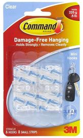 Command Mini Clear Hooks with Clear Strips (6 Pack)
