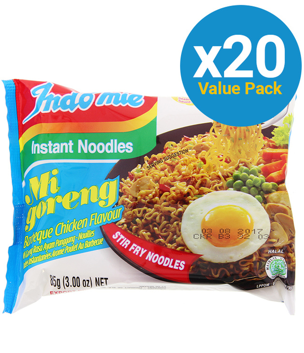 Indomie Mi Goreng Noodles - BBQ Chicken 85g (20 Pack)