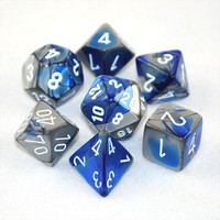 Chessex Gemini Polyhedral Dice Set - Blue Steel/White