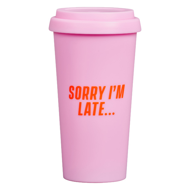 Travel Mug 'Sorry I'm Late'