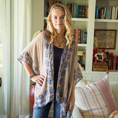 Natural Life: Jamie Kimono - Camel/Blue (One Size) image