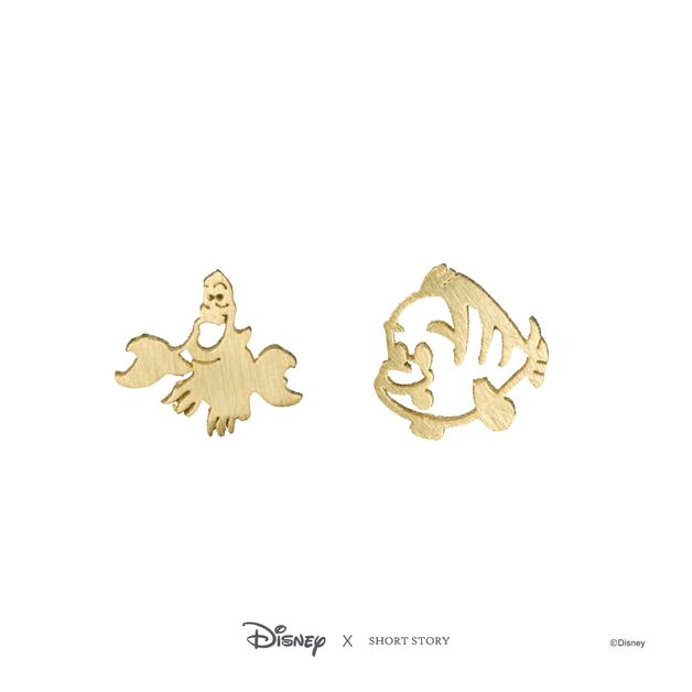 Short Story: Disney Earring Ariel Sebastian and Flounder - Gold