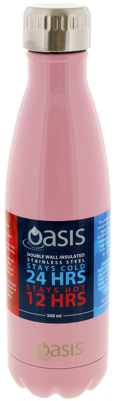 Oasis Insulated Stainless Steel Water Bottle - Powder Pink (500ml)