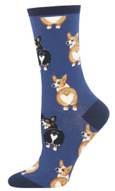Socksmith: Women's Corgi Butt Crew Socks - Blue