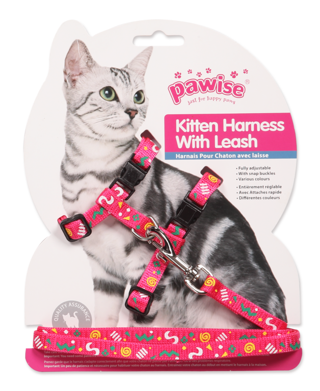 Pawise: Kitten Harness with 1.2 Leash - Pink/Purple