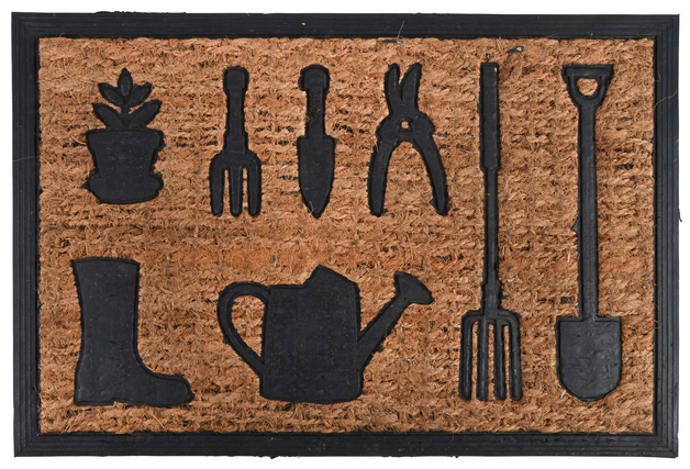 Rubber/Coir Doormat - Garden Tools (61x40x1cm)