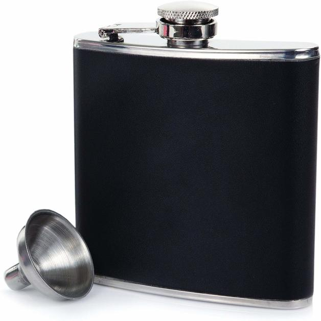 True: Monte Carlo - Faux Leather Flask (Black)