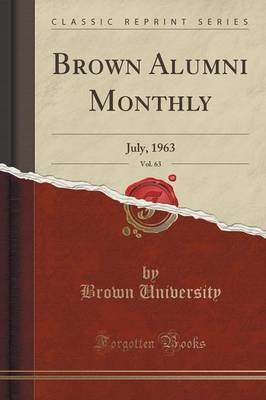 Brown Alumni Monthly, Vol. 63 by Brown University image