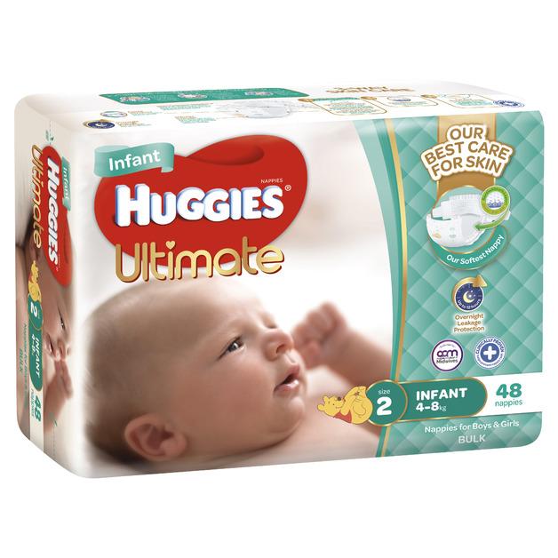 Huggies Ultimate Nappies Bulk - Size 2 Infant (48)