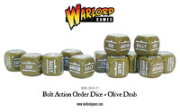 Bolt Action Orders Dice Olive Drab (12)