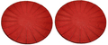Teaology: Cast Iron Coasters - Ribbed Red/Black (Set of 2)
