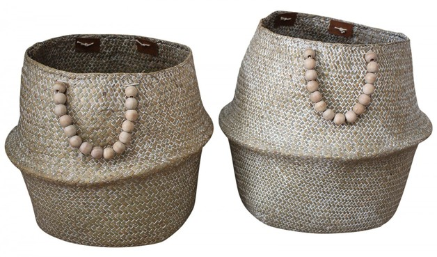 LaVida: Belly Basket - Wash/Beads (Set of 2)