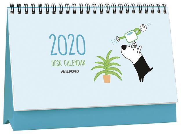 Milford: 2020 Flip Over Desk Calendar - Dog & Bird