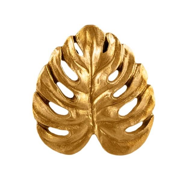 Gold Monstera Leaf Drawer Knob