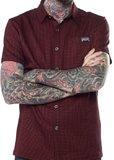 Kustom Kreeps: Oxblood Check - Button Down Shirt (XL)