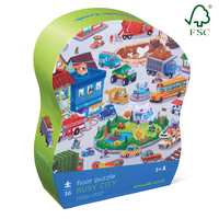 Crocodile Creek Shaped Box Puzzle Busy City 36pc image