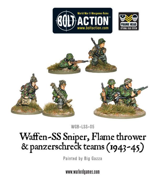 German Army - Waffen-SS Sniper, Flamethrower and Panzerschreck Teams