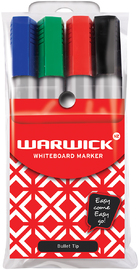 Warwick Whiteboard Bullet Tip Markers Assorted Pkt4