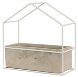 Small White Ceramic Planter Box with Metal House Frame