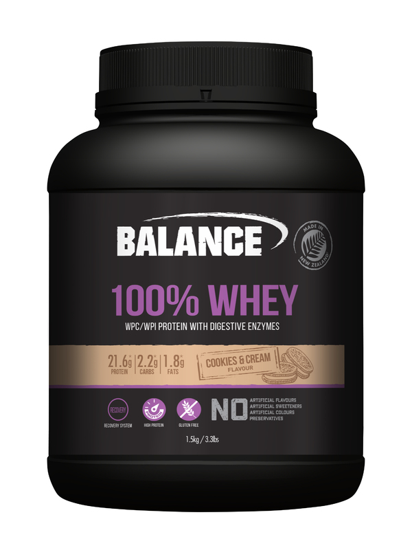 Balance 100% Whey Protein Powder - Cookies & Cream (1.5kg)