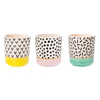 Memphis Modern Mini Pastel Planters (Set of 3)