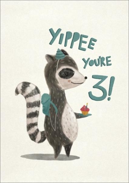 Oh Deer: Birthday Racoon 3rd Birthday Greeting Card