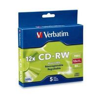 Verbatim CD-RW 700MB Slim 4x-12x High Speed (5 Pack) image