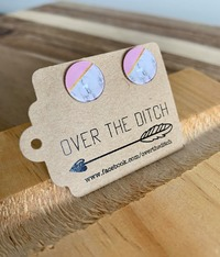 Over the Ditch: Dome Earrings - Marble/Pink image