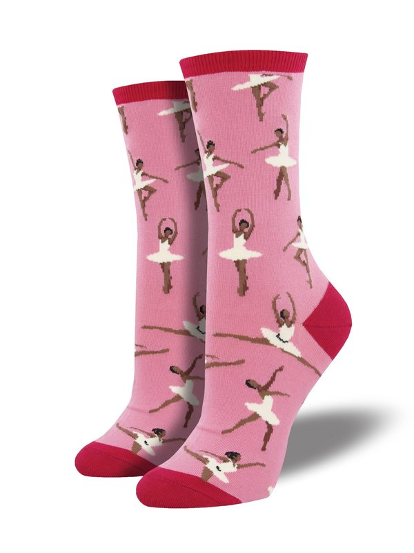 Socksmith: Womens Ballet People Crew Socks - Dusty Pink