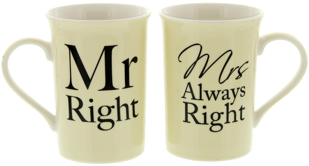 mr right and mrs always right mug set at mighty ape nz. Black Bedroom Furniture Sets. Home Design Ideas