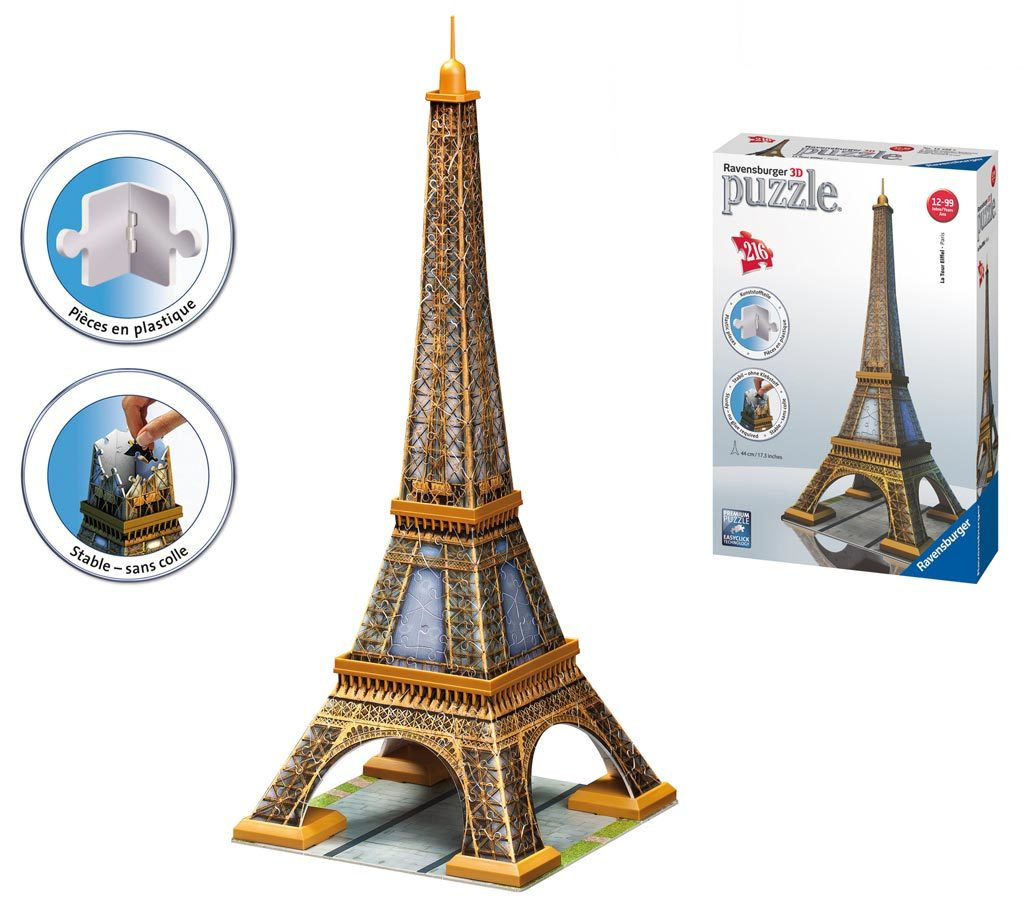 ravensburger 216 piece 3d jigsaw puzzle eiffel tower toy at mighty ape australia. Black Bedroom Furniture Sets. Home Design Ideas