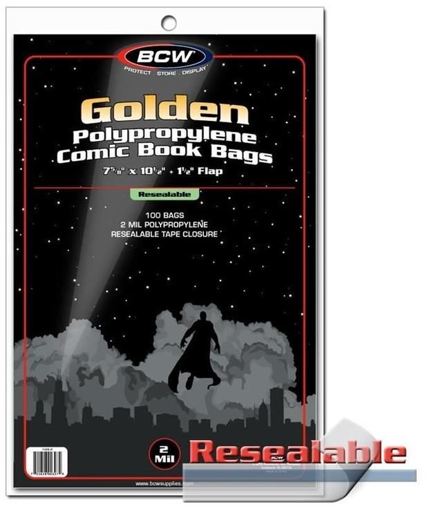 """BCW: Resealable Comic Book Bags - Golden (7.6"""" x 10.5"""")"""