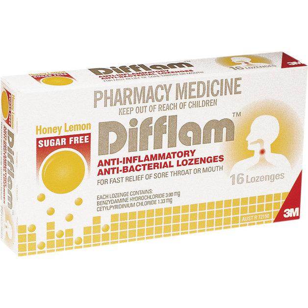 Difflam Lozenges - Sugarfree Lemon/Honey (16's)