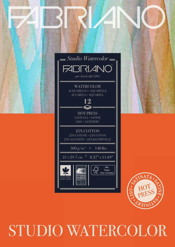 Fabriano: Studio Watercolour Pad 300gsm A4 Hot Pressed - 12 Sheets