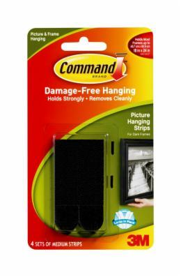 Command Medium Picture Hanging Strips - Black (4 Pack)