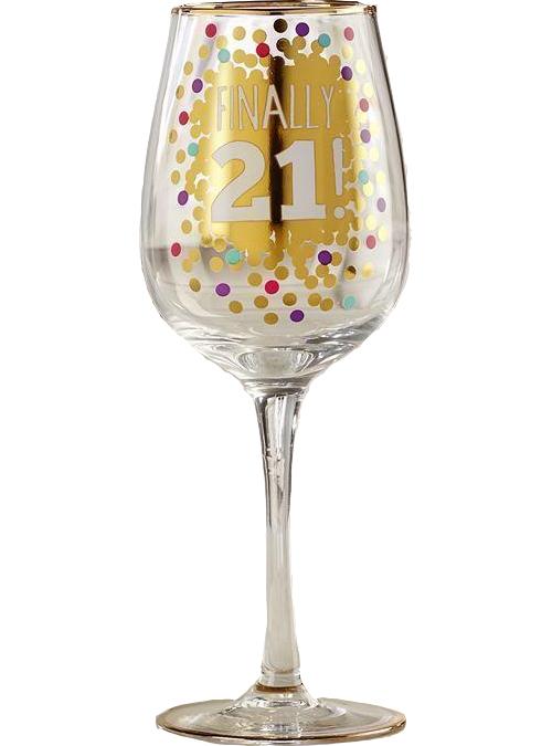 Finally 21 Wine Glass
