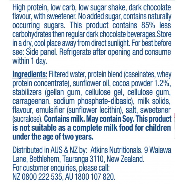 Atkins PLUS Protein-Packed RTD - Dark Chocolate (Pack of 6) image