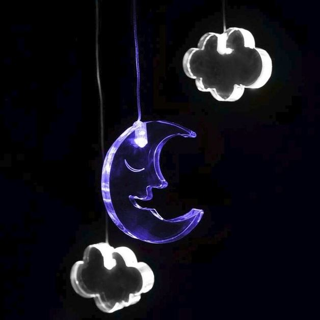 Mobile Night Light with Time - Moon & Clouds