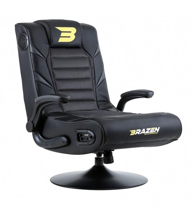 BraZen Panther Elite 2.1 Bluetooth Surround Sound Gaming Chair (Grey) for