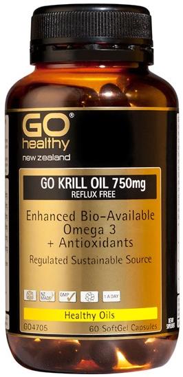 Go Healthy: GO Krill Oil 750mg Reflux Free (60 Capsules)