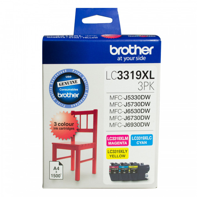 Brother LC3319XL3PK CMY High Yield Ink Cartridges (3 Pack)