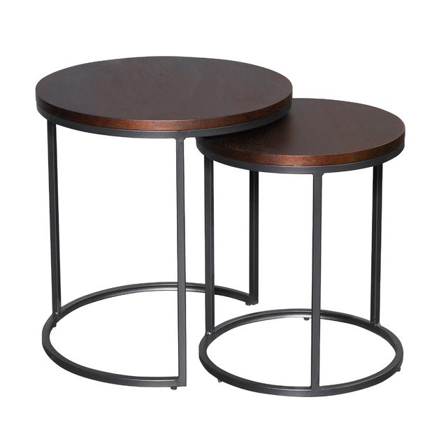 Round Nesting Side Table - Black & Walnut